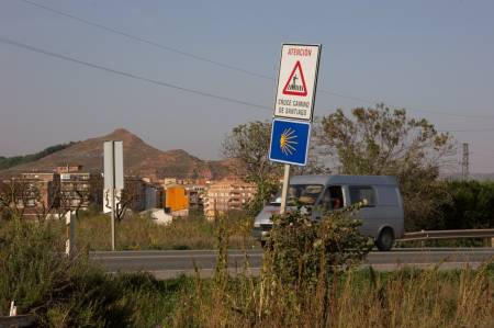 Najera - gefährliche Straßenüberquerung